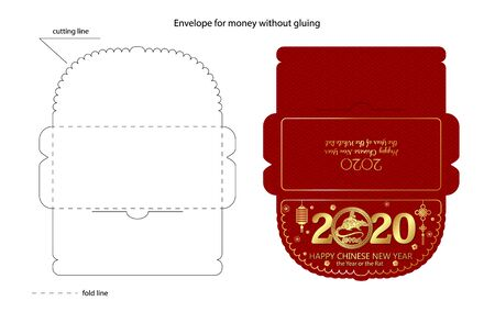 Chinese New Year red envelope flat icon. illustration. Red packet with gold rat and lanterns. Ready for print. Cutting line