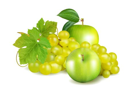 Green apple and grapes isolated on white background. Package design element. Realistic vector, 3d illustration Иллюстрация