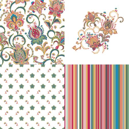 Set of seamless floral pattern with fantasy flowers and line. Embroidery template in complement. Hand drawn texture for clothes, bedclothes, fabric of the dress etc.