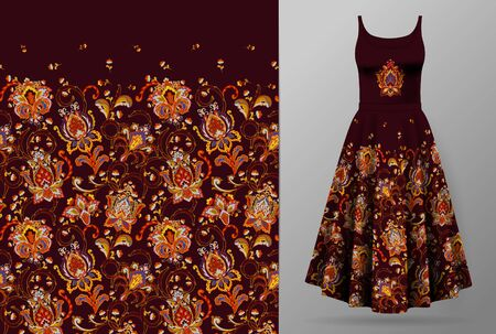 Seamless vertical fantasy flowers border pattern. Hand draw floral background on dress mockup. Vector. Traditional eastern pattern for textiles, wallpapers, decor. Hot red orange colors on dark vinous