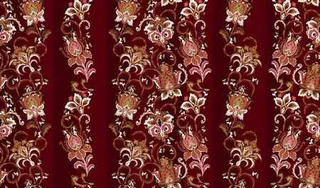 Striped seamless pattern. Floral wallpaper. Colorful ornamental border with stylized flowers. Design for cover, fabric, textile, wrapping paper. Beige red white on vinous Ilustração