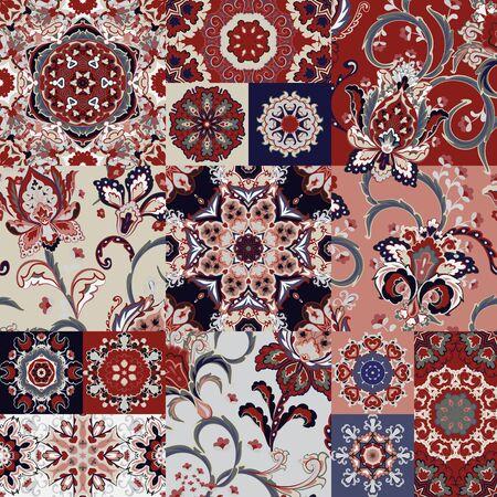Tuile de patchwork vectorielle continue avec fantaisie main dessiner des fleurs et des mandalas. Arrière-plan serti d'ornement gris bleu rouge dans un style arabe. Vecteurs