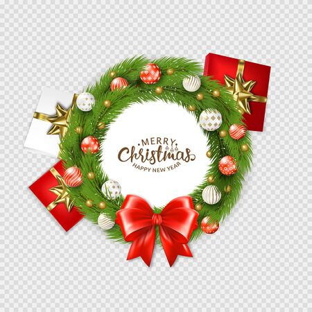 Christmas Wreath With Ball With Gradient Mesh, Vector Illustration