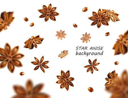 Falling star anise background. Flying star aniseed on a white backdrop. Quality realistic vector, 3d illustration