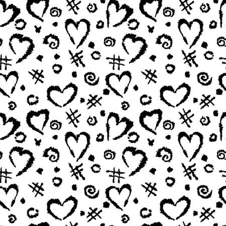 Abstract background with a pattern of hearts, a lattice and spots. Vector illustration drawn by hand. Иллюстрация