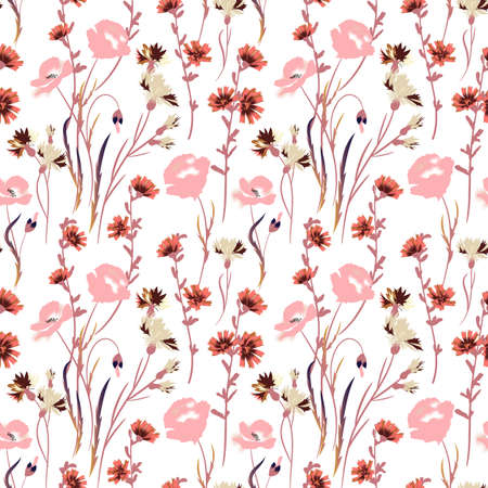 Wild flowers illustrations. Vector seamless pattern Иллюстрация