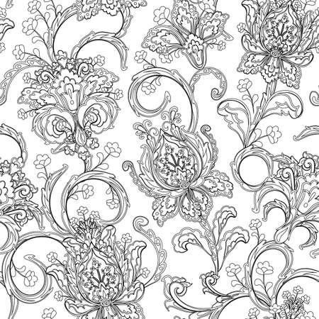 Monochrome paisley pattern. Seamless background, coloring book
