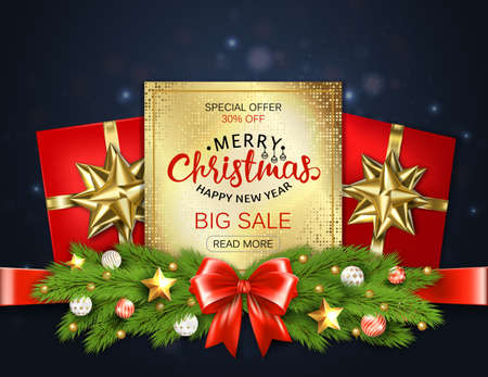 Merry Christmas sale banner with pine branches decorated, gold stars and bubbles on dark blue background. Vector illustration template greeting cards with lettering.