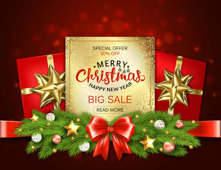 Merry Christmas sale banner with pine branches decorated, gold stars and bubbles on red background. Vector illustration template greeting cards with lettering. Фото со стока