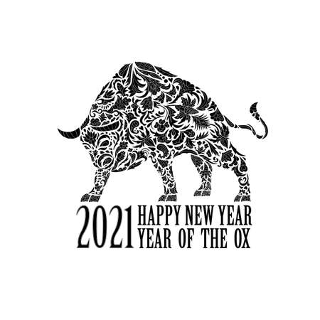 Vector bull with an ornament. Symbol of the year 2021. Black and white Иллюстрация