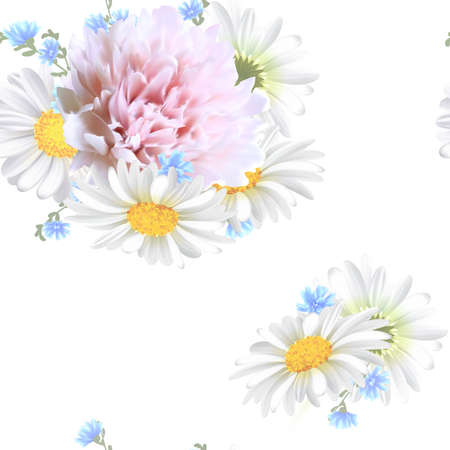 Floral Seamless Pattern with pink peony, Chamomile (Daisy), spring flowers. Blooming Flowers on white Background. Vector