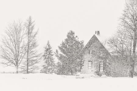 white winter: Black and white house winter Editorial