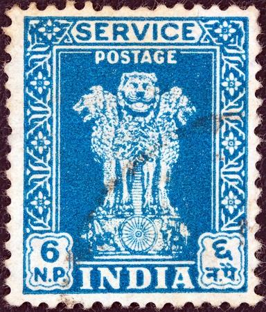 INDIA - CIRCA 1957  A stamp printed in India showing four Indian lions capital of Ashoka Pillar, circa 1957