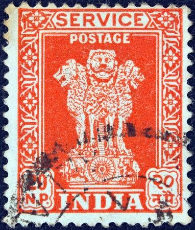 ashoka: INDIA - CIRCA 1957  A stamp printed in India showing four Indian lions capital of Ashoka Pillar, circa 1957
