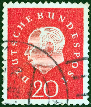 GERMANY - CIRCA 1959  A stamp printed in Germany showing the first President of the Federal Republic of Germany Theodor Heuss, circa 1959   Stock Photo - 13328892