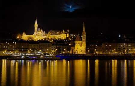 Fisherman s Bastion, St  Matthias church and Budai Reformatus night view, Budapest, Hungary  photo