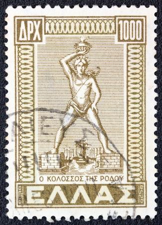 ギリシャ - ドデカニサの統合の問題からギリシャで印刷される 1947 A スタンプ年頃に示しますロードス島の巨像 1947 年頃