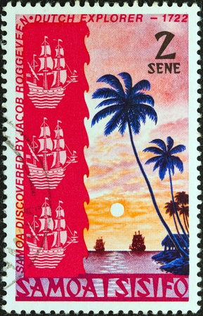 jacob: SAMOA - CIRCA 1972  A stamp printed in Samoa issued for the 250th anniversary of Jacob Roggeveen Pacific voyage and discovery of Samoa in June 1722 shows two sailing ships at sunset, circa 1972