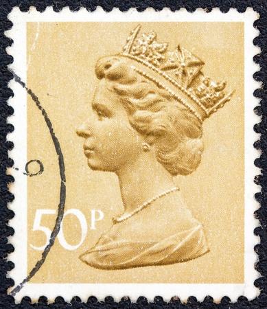 UNITED KINGDOM - CIRCA 1971  A stamp printed in United Kingdom shows a portrait of Queen Elizabeth II, circa 1971