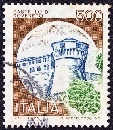 ITALY - CIRCA 1980  A stamp printed in Italy from the  Castles  issue shows Rovereto castle, circa 1980  photo