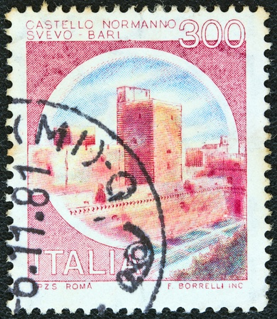 ITALY - CIRCA 1980  A stamp printed in Italy from the  Castles  issue shows Norman Castle, Svevo, Bari, circa 1980   photo