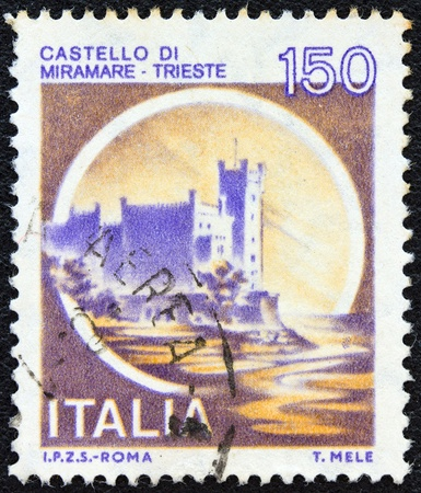 ITALY - CIRCA 1980  A stamp printed in Italy from the  Castles  issue shows Miramare castle, Trieste, circa 1980   photo