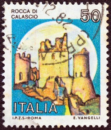 ITALY - CIRCA 1980  A stamp printed in Italy from the  Castles  issue shows Rocca di Calascio, L Aquila, circa 1980   photo