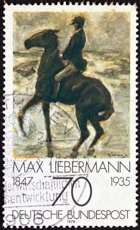bundes: GERMANY - CIRCA 1978: A stamp printed in Germany from the Impressionist Paintings issue shows Horseman on the shore turning left by Max Liebermann (1847-1935), circa 1978.