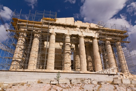 Parthenon, Acropolis with visible the ongoing restoration work