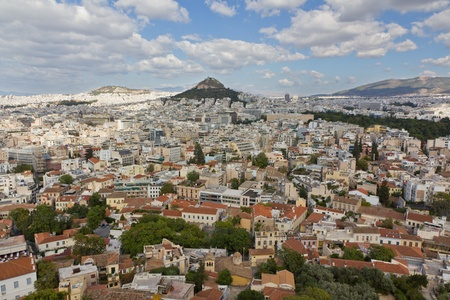 Athens view from Acropolis hill, Greece  photo