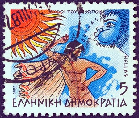 GREECE - CIRCA 1987  A stamp printed in Greece from the  Aesop's Fables  issue showing  The North Wind and the Sun , circa 1987   photo