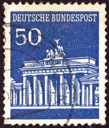 GERMANY - CIRCA 1966  A stamp printed in Germany showing Brandenburg Gate, Berlin, circa 1966  photo