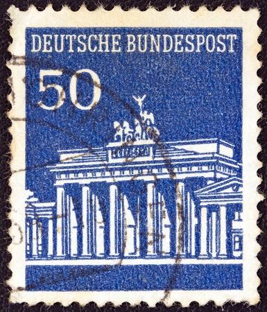 GERMANY - CIRCA 1966  A stamp printed in Germany showing Brandenburg Gate, Berlin, circa 1966