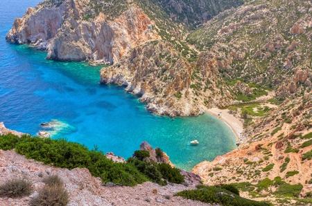 ファロス湾、Polyaigos 島キクラデス諸島, ギリシャ 写真素材