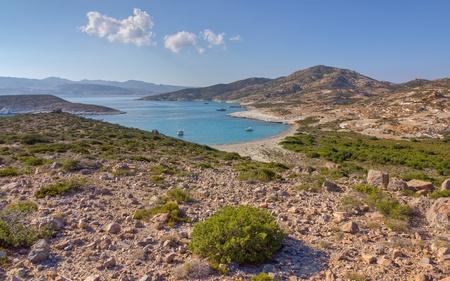 Ano Myrsini bay, Polyaigos island, Cyclades, Greece  Stock Photo