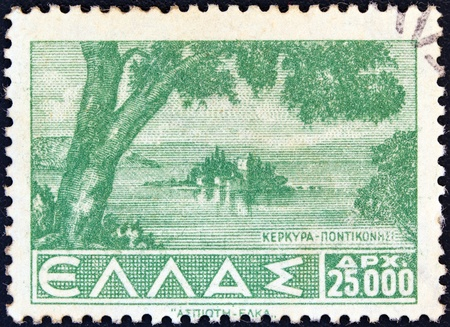 GREECE - CIRCA 1942  A stamp printed in Greece from the  Landscapes  issue shows Pontikonissi, Corfu, circa 1942 Stock Photo - 13591038