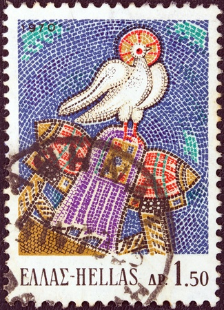 timbre: GREECE - CIRCA 1970  A stamp printed in Greece from the  Greek Mosaics  issue shows The Holy Ghost, Osios Loukas Monastery  11th century A D  , circa 1970