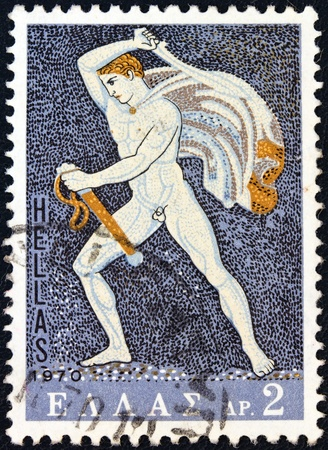 GREECE - CIRCA 1970  A stamp printed in Greece from the  Greek Mosaics  issue shows a Hunter  of a lion hunt mosaic  from Pella, Macedonia  4th century B C  , circa 1970   photo