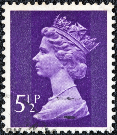 UNITED KINGDOM - CIRCA 1971  A stamp printed in United Kingdom shows a portrait of Queen Elizabeth II, circa 1971  Stock Photo - 13685225