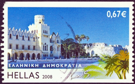 GREECE - CIRCA 2008  A stamp printed in Greece from the  Greek islands  issue shows Kos island, circa 2008