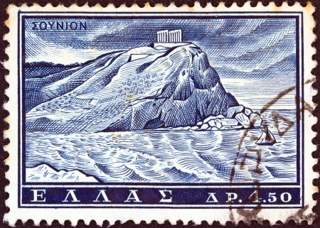 GREECE - CIRCA 1961  A stamp printed in Greece from the  Tourist Publicity  issue shows Poseidon temple, Sounion, circa 1961  Stock Photo - 13685196