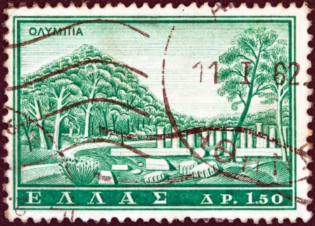 GREECE - CIRCA 1961  A stamp printed in Greece from the  Tourist Publicity  issue shows ancient Olympia, circa 1961