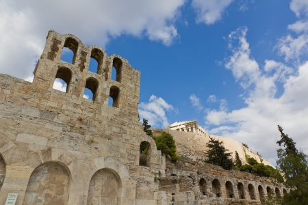 Odeon of Herodes Atticus and Acropolis, Athens, Greece  Stock Photo