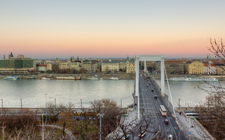 View of Elisabeth bridge and Pest from the path to Gellert hill.  Stock Photo - 13661635