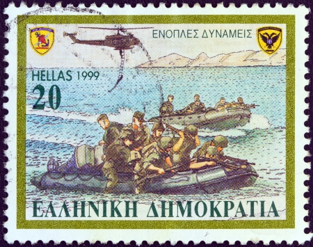 GREECE - CIRCA 1999: A stamp printed in Greece from the Armed Forces issue shows an army exercise with helicopters, rafts, circa 1999.