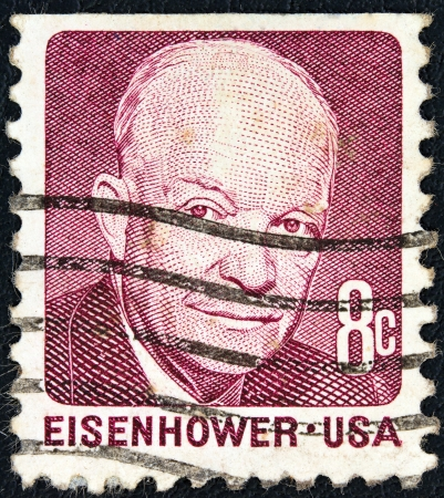eisenhower: USA - CIRCA 1970: A stamp printed in USA from the Prominent Americans (2nd series) issue shows president Dwight D. Eisenhower, circa 1970.