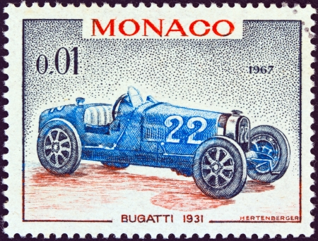 MONACO - CIRCA 1967: A stamp printed in Monaco from the 25th Grand Prix, Monaco issue shows a Bugatti type 51 Grand Prix racing car of 1931, winner of Monaco Grand prix, circa 1967.