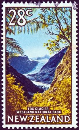 fox glacier: NEW ZEALAND - CIRCA 1967: A stamp printed in New Zealand shows Fox Glacier, Westland National Park, circa 1967.