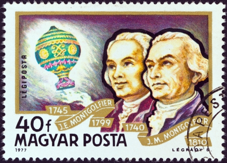 magyar: HUNGARY - CIRCA 1977: A stamp printed in Hungary from the Airships issue shows Montgolfier Brothers and Balloon, circa 1977.  Editorial