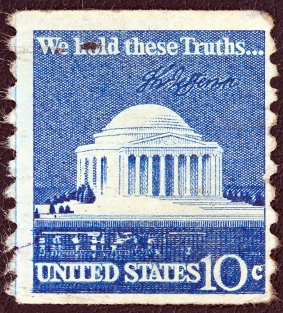 USA - CIRCA 1973: A stamp printed in USA from shows Jefferson Memorial, circa 1973.  Stock Photo - 13692345